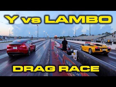 Y vs LAMBO * FIRST Tesla Model Y Performance down the 1/4 Mile * VS Lamborghini Murciélago