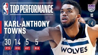 Karl-Anthony Towns Puts Up 30 pts, 14 rebs, 5 asts, & 5 blks vs The Kings