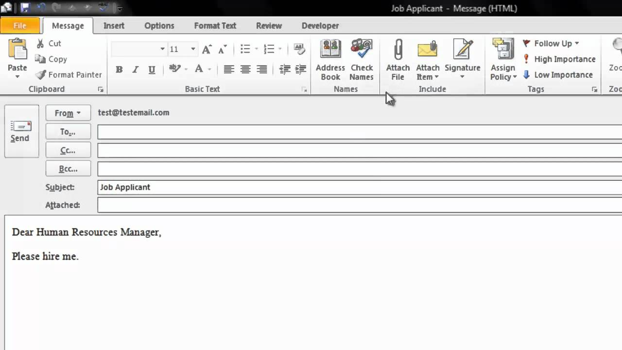 outlook email template 2010