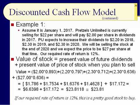 BUS123 Chapter 06 - Discounted Cash Flow Model, The Value Line - Slides 35 to 56 - Fall 2017