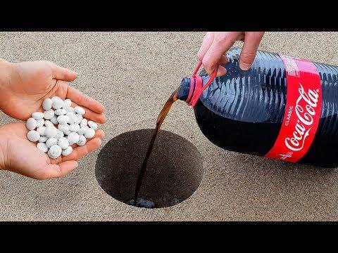 Experiment: Coca Cola And Mentos Underground! Super Reaction!
