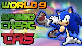 [TAS] World 9 with Sonic (speed cheat) | NSMBWii | 4K 60FPS