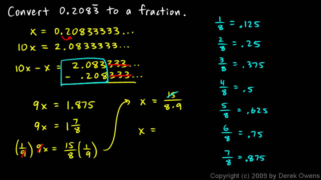 how to write the decimal as a fraction