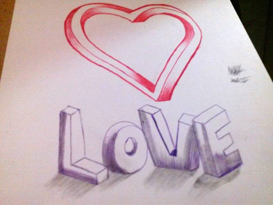 How To Draw 3d Love Heart