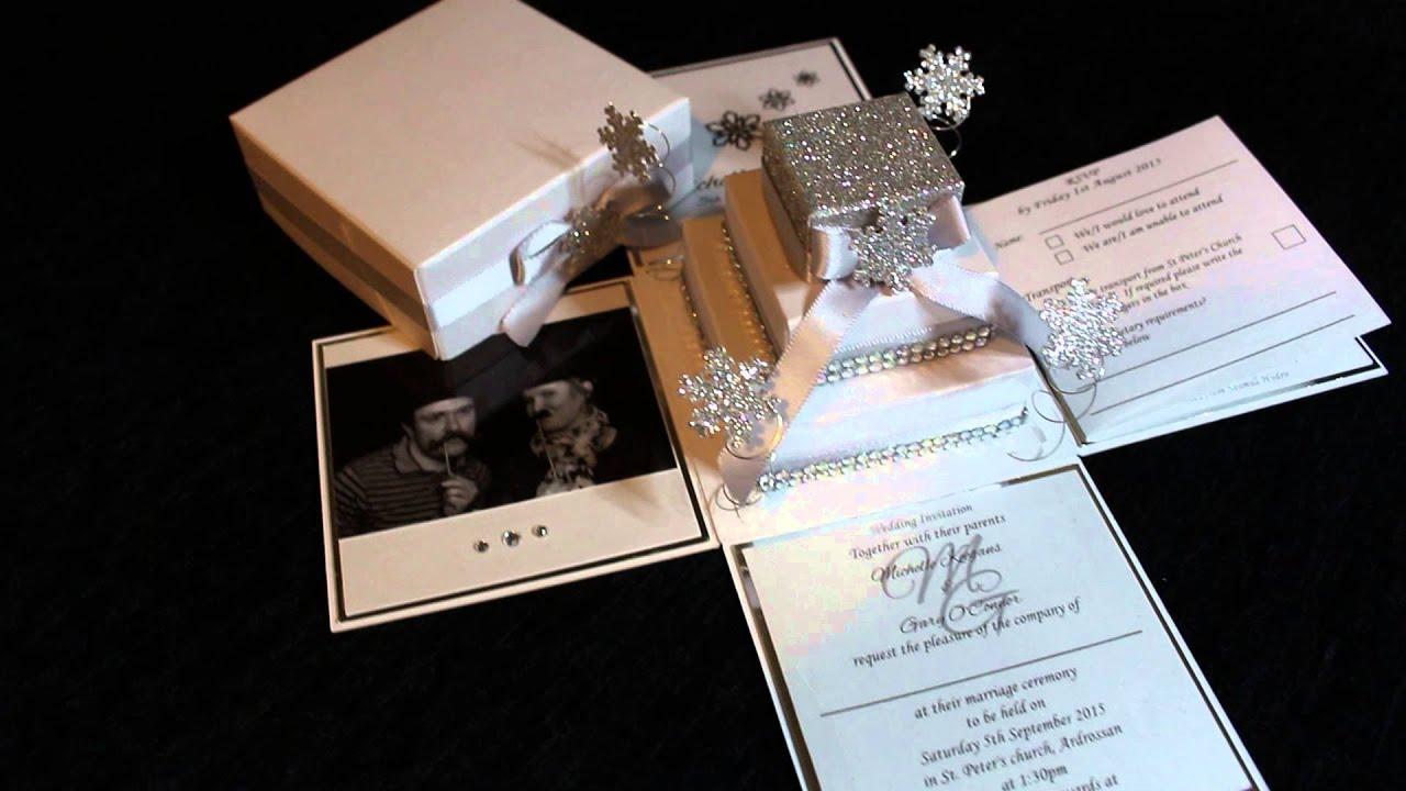 Wedding Invitation In A Box: Snow Exploding Box Wedding Invitation