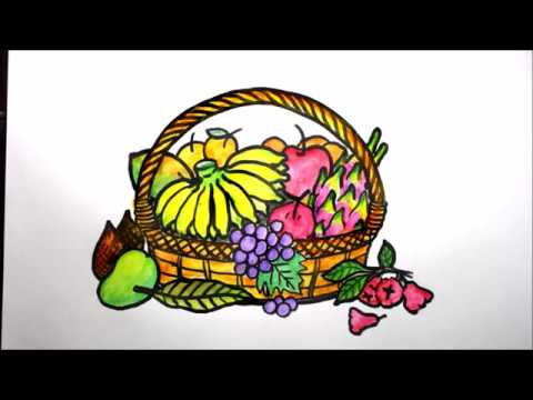 How To Draw Fruits In A Basket Easy Youtube