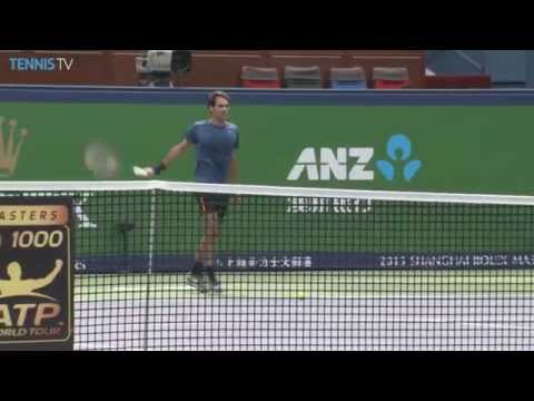 Roger Federer takes to the Shanghai Rolex Masters practice court