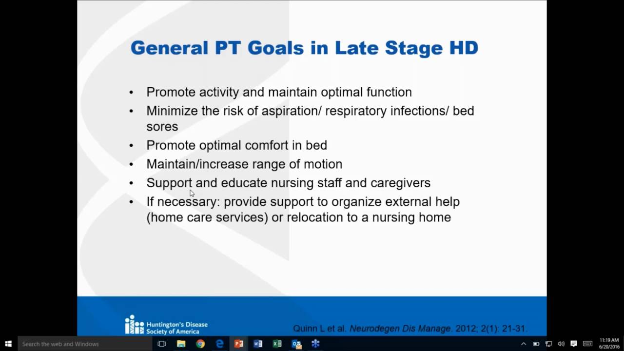 Huntington physical therapy - Physical Therapy Management Of Individuals In Late Stage Hd