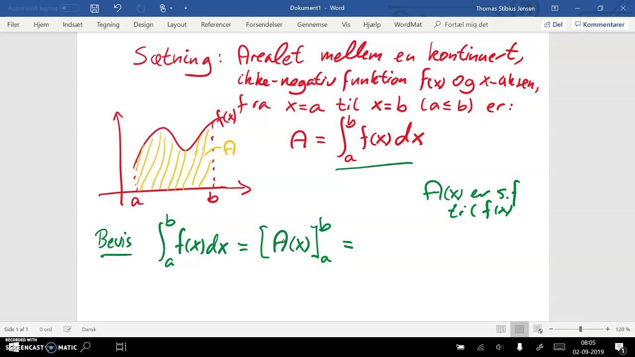 spg 10 del2b Bestemt integral er lig areal under kurven med bevis