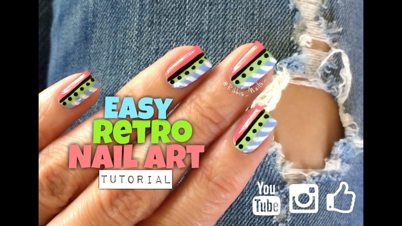 Easy Fun Retro Nail Art Youtube