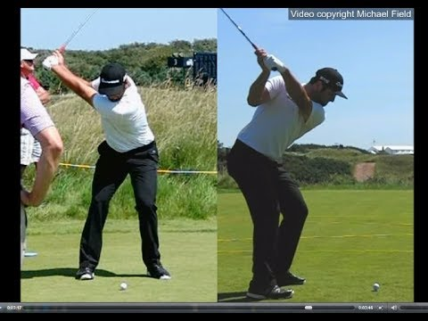 Jon Rahm golf swing – Long Iron (face-on & down-the-line), July 2017.