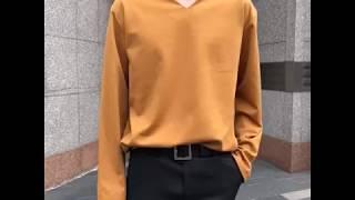 루즈핏 브이넥 티셔츠-머스타드