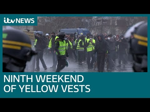 Violent yellow vest clashes in France for ninth straight week | ITV News
