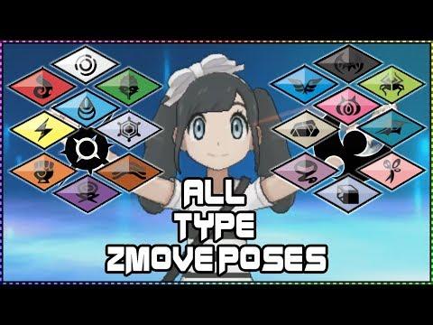 ALL 18 POKEMON TYPE Z MOVE POSES! Pokemon Sun and Moon Z Crystals Pose Showcase -  Darklightbros