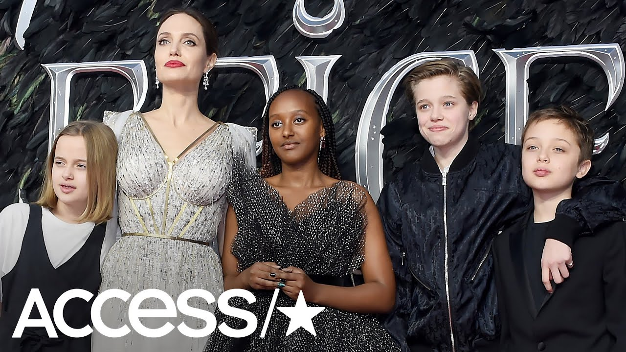 Angelina Jolie Takes 4 Of Her Kids To Maleficent Premiere And Sparkles In Dreamy Gown