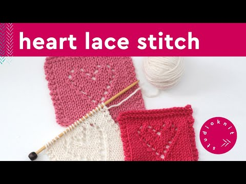 Lace Hearts Knit Stitch Pattern Youtube