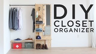 Full instructions for this DIY Closet Organizer / Dressing Station here: http://www.homemade-modern.com/ep98-diy-closet-organizer/