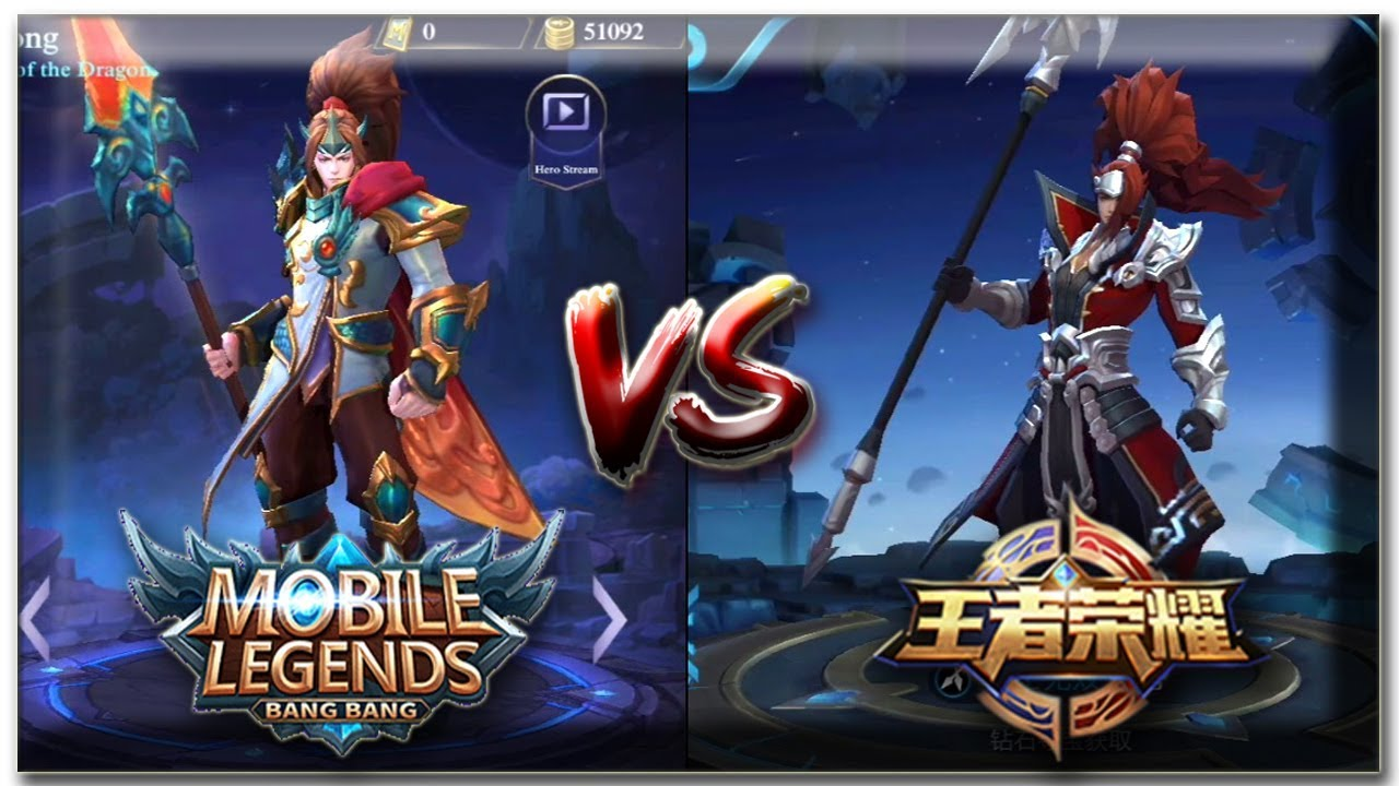 Mobile Legend Vs King Of Glory 王者荣耀 Hero Parison