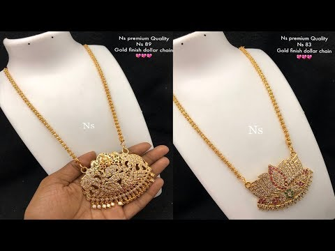 Latest One Gram Gold Finish Dollar Chain Design Collections For Best Price