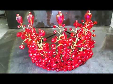 Дизайнерска корона с червени кристали by Rosie Concept - Absolute Queen of Fire