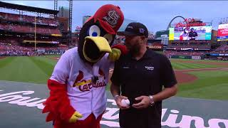 Shawn Langdon throws out first pitch prior to the St. Louis Cardinals Game