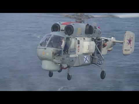 Ka-27 landing on icebreaker Ilya Muromets (Project 21180)