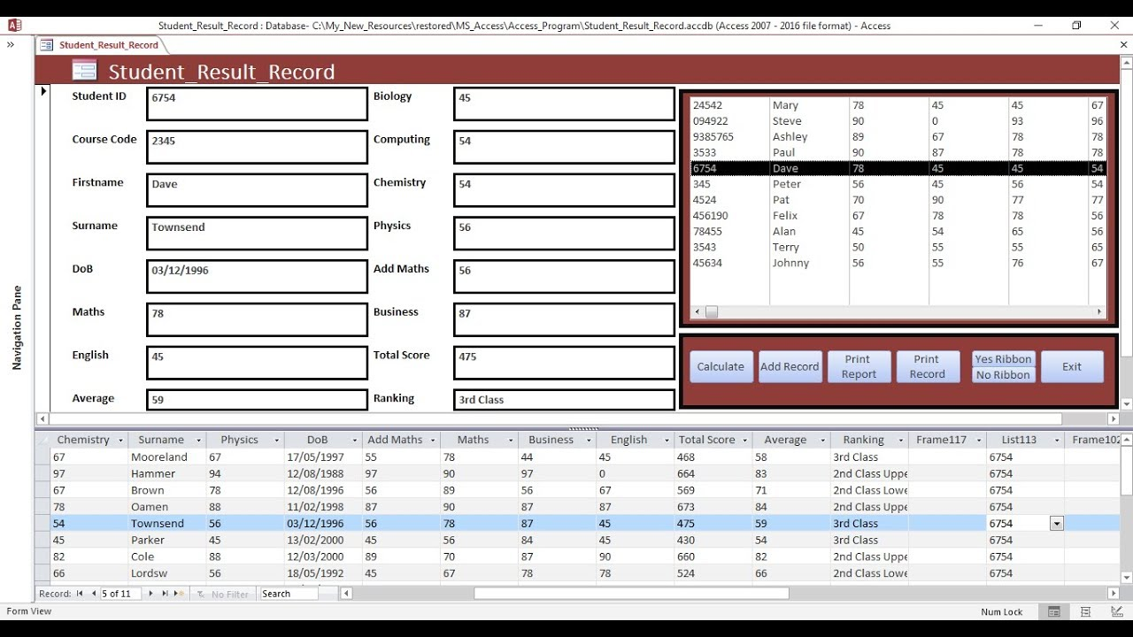how to create student record data entry form in ms access