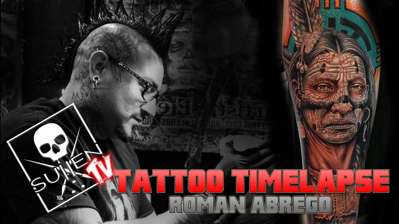 Tattoo Time Lapse  Roman Abrego Tattoos Indian Portrait YouTube
