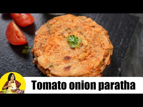 Masala Tomato Onion Paratha by Tarla Dalal