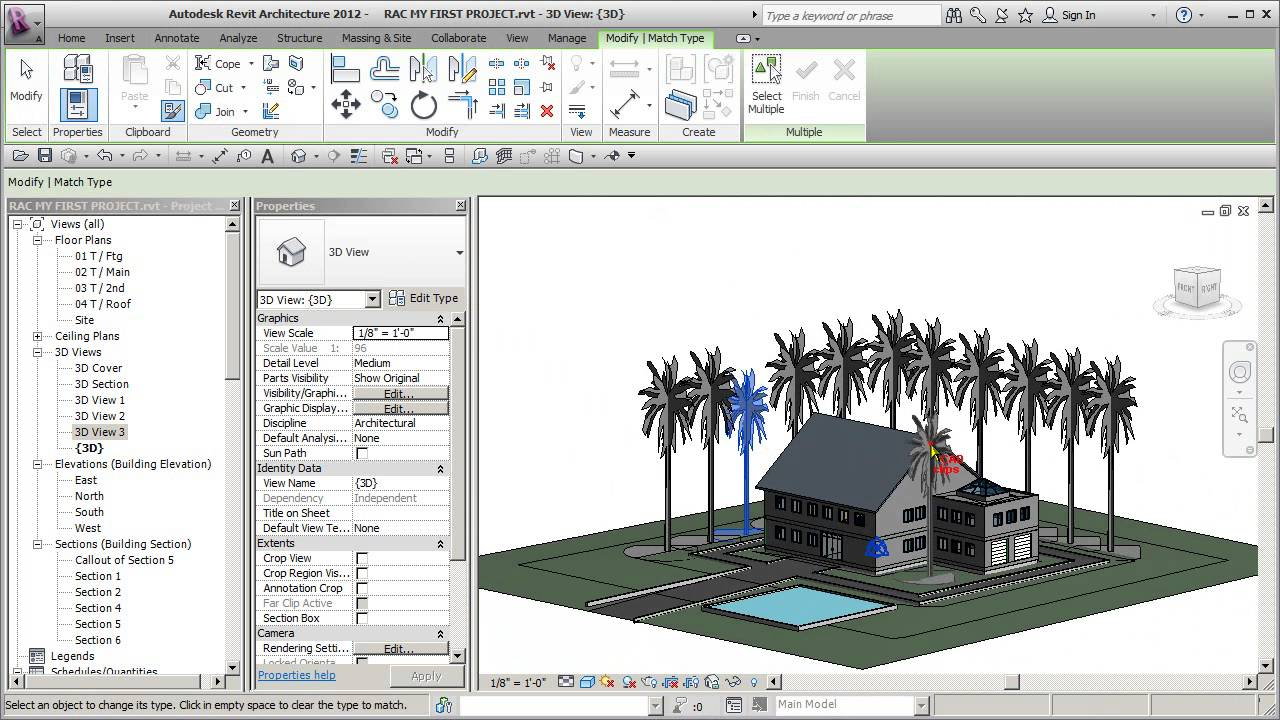 REVIT ARCH 2012 FIRST PROJECT 68 SITE TREES AND SHRUBS