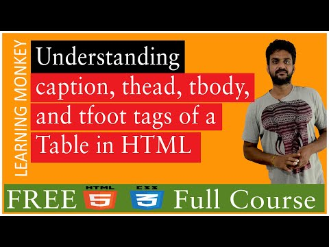 Understanding Caption Thead Tbody And Tfoot Tags Of A Table In HTML || Lesson 27 || HTML5 And CSS3
