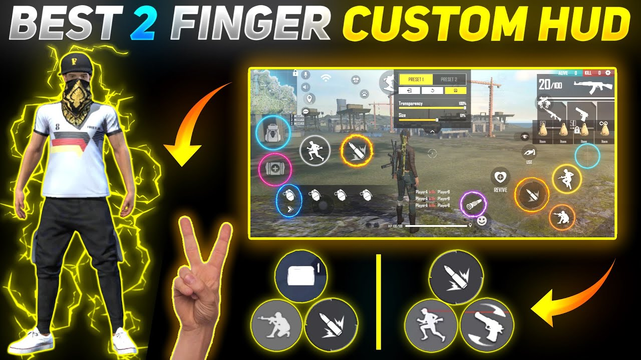 Free Fire Best 2 Finger Custom HUD Setting   Latest One Tap Custom HUD 2021   Auto Headshot Setting