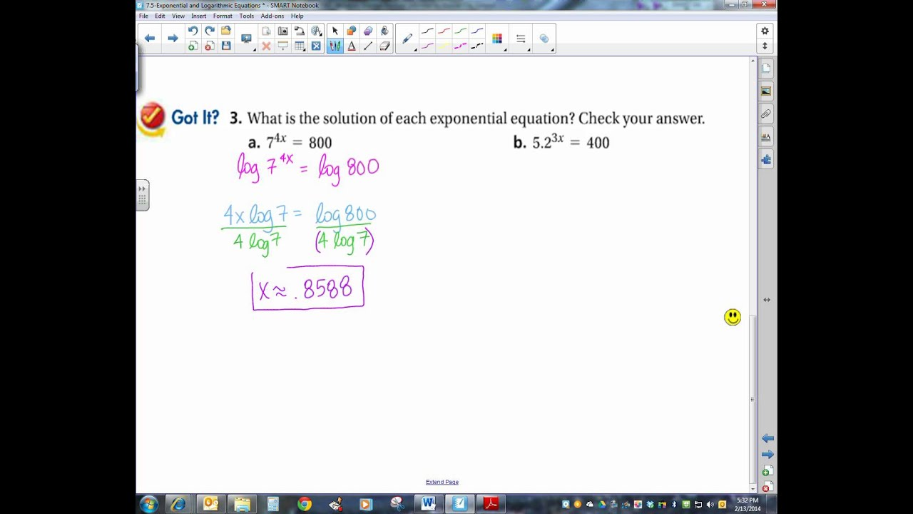 7 5 Exponential And Logarithmic Equations