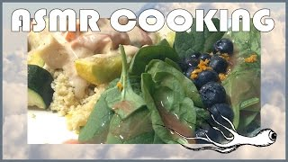 Asmr Chicken With Couscous And Roasted Vegetables (slicing Sounds) (sizzling Noises)