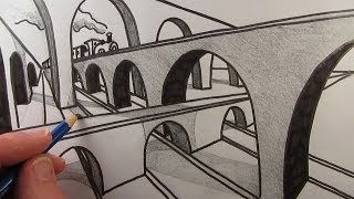 How to Draw a Bridge in Two Point Perspective: Narrated