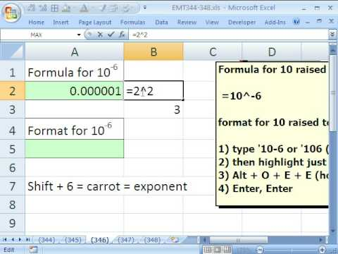 Excel Magic Trick 346 Exponents Formula And Formatting In Excel