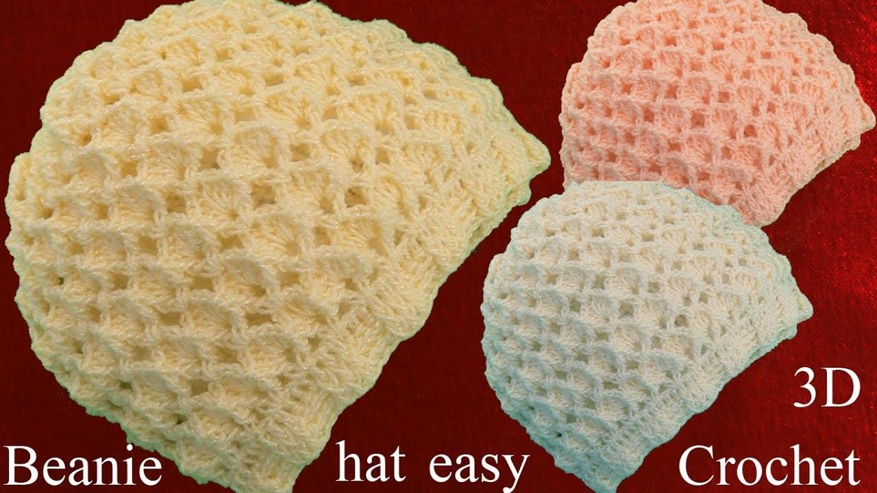 Gorro a Crochet en punto de Diamantes 3D tejidos tallermanualperu ...