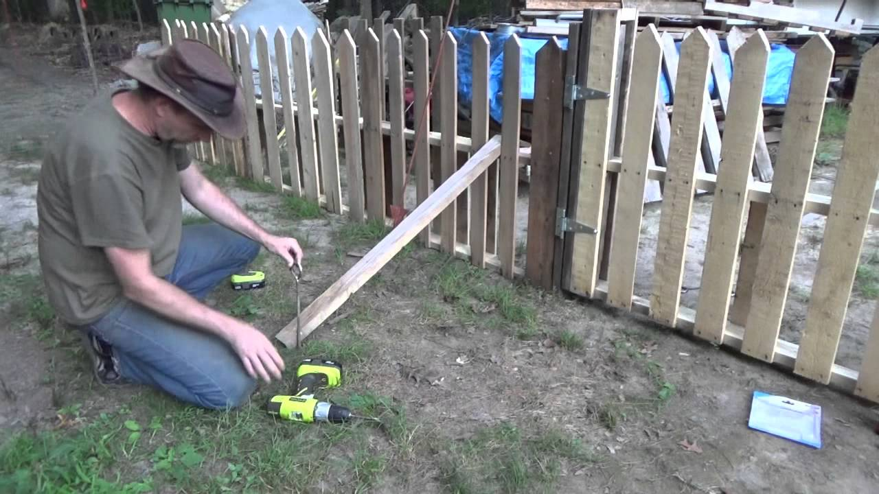 Finishing my pallet wood picket fence gate youtube baanklon Image collections