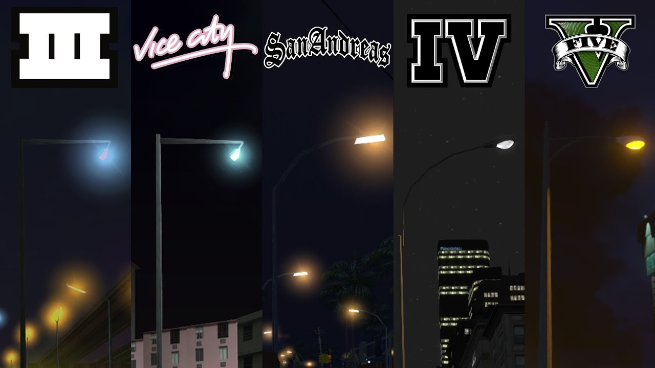 How LAMPPOST STRENGHT have CHANGED in GTA Games 2001 - 2020 (Evolution of GTA)