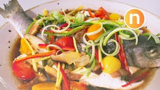 Teochew Steamed Fish   Steamed with Pickled Vegetables and Pickled Plums   潮州式蒸鱼 [Nyonya Cooking]