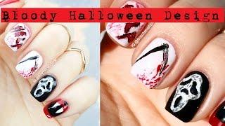 Bloody Halloween Nails: Scream Mask & Scythe