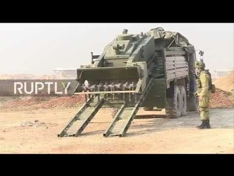 Syria: Russian sappers and Uran-6 robot detonate IEDs in Ale