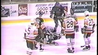 88 89 Lyle Odelein vs Jim Paek and Lee Giffin Peoria Rivermen vs Muskegon Lumberjacks