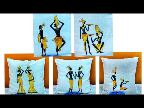 African women's Painting On Cushion Covers