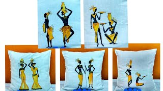 Fabric Painting on Cotton | African women's Painting On Cushion Covers