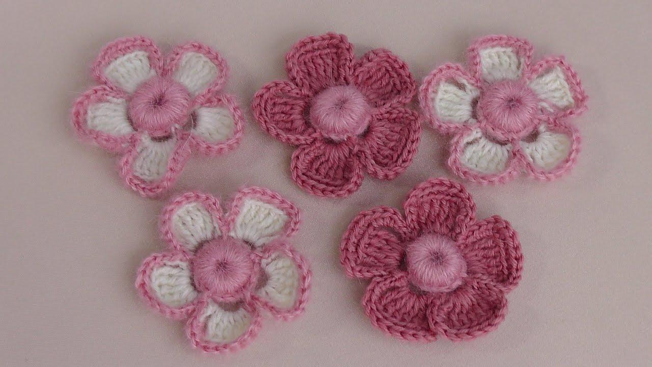 Вязание маленьких цветочек