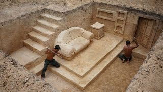 Building The Most Creative Underground House with Private Underground Living Room