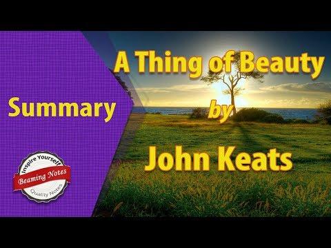 a thing of beauty by john keats explanation