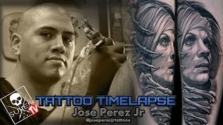 Tattoo Time Lapse - Jose Perez Jr. - Tattoos Black and Grey Portrait(, 2013-11-04T08:00:01.000Z)