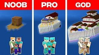 Minecraft NOOB vs. PRO vs. GOD: FAMILY BOAT HOUSE BUILD CHALLENGE in Minecraft (Animation)
